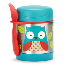 Keep food warm or cold with a Zoo pal!  This colorful stainless steel container keeps kid-sized portions warm or cold. Store the spork, or most utensils, in the handy built-in holder so your little one is ready for meals on-the-go. <br><br>The Skip Hop 11 Ounce Zoo Insulated Food Jar - Owl Features: <br><ul><li>Stainless steel body keeps food warm for 7 hours or cold for 5 hours</li><br><li>Built in holder fits most utensils</li><br><li>Includes a spork (spoon and…