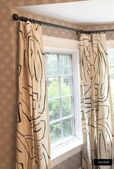 Custom Drapes by Lynn Chalk in Kelly Wearstler Graffito (shown in Linen/Onyx-comes in several colors) Drapes And Blinds, Types Of Curtains, Drapes Curtains, Burlap Curtains, Types Of Window Treatments, Custom Window Treatments, Patio Door Drapes, Thermal Drapes, Curtain Patterns