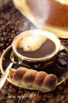 Beauty is worth a gif Gif Café, Good Morning Coffee Gif, Coffee Break, I Love Coffee, My Coffee, Coffee Cafe, Coffee Drinks, Mini Desserts, Food And Drink