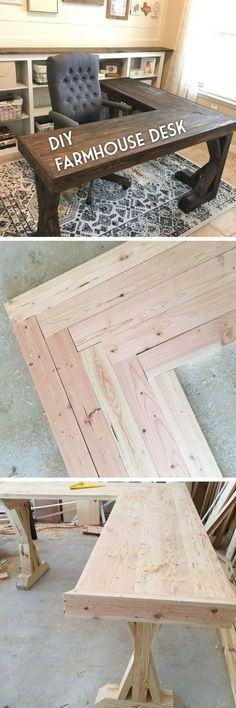 DIY L-Shaped Farmhouse Wood Desk + Office Makeover Check out the tutorial how to build a DIY l-shaped farmhouse desk DIY Home Decor Ideas @ ISD Related posts: DIY desk with all boards!