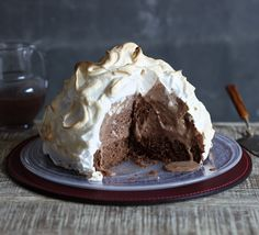 Chocolate baked Alaska – cake, ice cream, soft meringue and lashings of chocolate sauce. Wow.