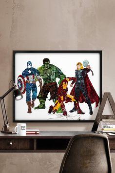 Avengers poster, Avengers print, Superhero poster, Marvel print, Thor, Hulk, Iron man, Captain America, Wall art, Home decor, Gift for him.