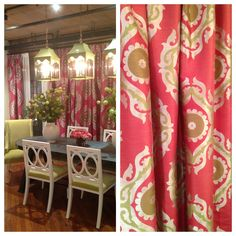 Gorgeous new #damask #fabric by Anna French for Thibaut. Large scale pattern & bright pink & lime color palette create a bold look that pops against whites and neutrals. Instant happiness! #hpmkt #stylespotters #pattern @Thibaut Abou Mrad Wallpaper Fabric Furniture