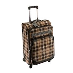 Genuine Pierre Cardin CHECK Luggage Expend Carry-On Travel Bag / 25 inch Brown