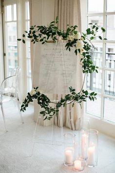 Elegant wedding sign idea with greenery garland {Emily Blumberg Photography}