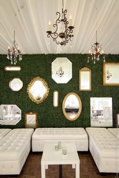 Custom Boxwood Hedge Wall, Gold Mirrors, Chandeliers and Lounge Furniture by Pink Monkey Solutions