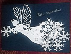 Mit Liebe selbstgemacht von Petra Heinrich. Weihnachten / Christmas. Die Engelstanze ist von Craft Dies Sue Wilson, die Schneekristalle sind von Westcott,  das Papier ist von Heindesign und Stampin up und das Glitzerpapier von efco.