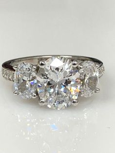 Moissanite Oval Three Stone Engagement Ring with Diamond Accents 14k #5403 | Jewelry & Watches, Engagement & Wedding, Engagement Rings | eBay!