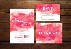 Printable Wedding Invitation // Pink Watercolor Wedding Invitation for Print DIY by MyLollyShop