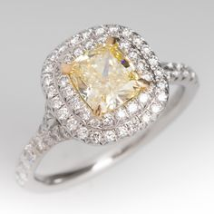 Tiffany+Soleste+Cushion+Engagement+Ring+Fancy+Yellow+Diamond
