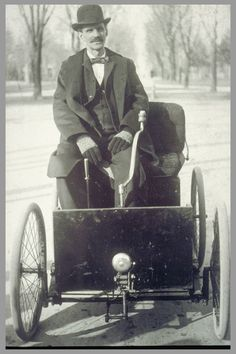 1896 Ford Quadricycle with Henry Ford seated