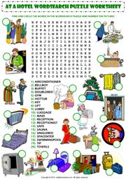at a hotel wordsearch puzzle vocabulary worksheet icon