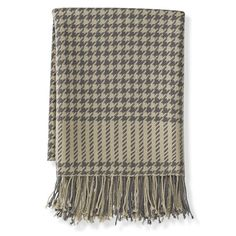 Lambswool Houndstooth Throw, Gray | Williams-Sonoma