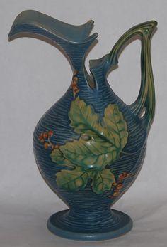 Roseville Pottery Bushberry Blue Ewer