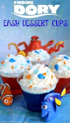 Easy Dessert Cups, Finding Dory Birthday Party Ideas | Pretty My Party