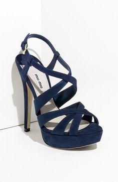Love these Miu Miu Strappy Sandals & pretty color! $695.00