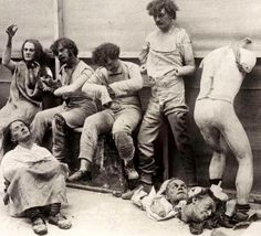 Melted and damaged mannequins after a fire in the Madame Tussaud Wax Museum in London, 1930