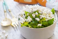 An eggless caesar salad to suit any dietary needs with an extra easy twist: top with Giada & Popcorn instead of croutons for a mega crunch! Romaine Salad, Caesar Salad, Giada Recipes, Salad Recipes, Giada De Laurentiis, Entrees, Food To Make, Salads, Veggies