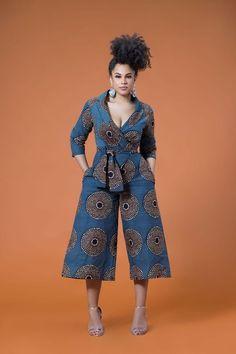 African Print Wariba Jumpsuit Grass fields Stylish yet elegant African Fashion Designers, Latest African Fashion Dresses, African Inspired Fashion, African Print Fashion, Africa Fashion, African Print Jumpsuit, Ankara Jumpsuit, African Print Dresses, African Dress