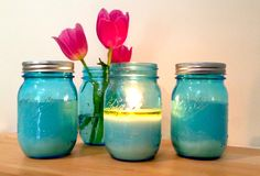 mason jar candles | Blue Mason Jar - Scented Soy Candle
