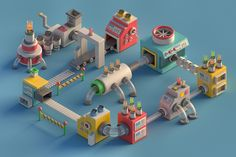 #low #poly #chemical #machine #plant