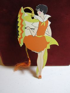 1920's-30's Art Deco Die Cut Bridge Tally card  Flapper holding deco parasol or umbrella bright colors gibson.