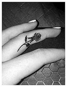 #RetroTattooIdeas #Tattoo Rose Tattoo on the Inside of Your Finger., click for more info..