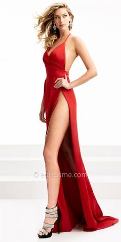 Take a risk at your next event in this Pleated Thigh High Open Back Evening Dress by Jasz Couture. This sexy style features an alarming thigh high slit for the ultimate sex appeal, a plunging V-shape neckline with a perfectly pleated bodice, and an open back with a center back zipper and tie able neck strap. #edressme
