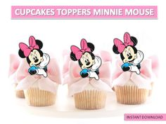 PRINTABLE DISNEY, MINNIE MOUSE CUPCAKES TOPPERS, MINNIE CAKE POP, YOU PRINT