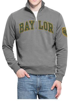 '47 Baylor Bears Mens Grey Arch 1/4 Zip Fashion Pullover