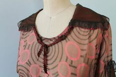 1920s Dress / 20s Flapper NOVELTY PRINT Sheer by GuermantesVintage