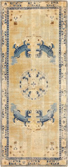 Gallery Size Antique 18th Century Chinese Ningxia Ningsia Rug 48886