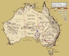 Fantasy map of Australia (Samuel Fisher) Australia School, Australia Map, Western Australia, Fantasy World Map, United States Map, Knowledge Quotes, Vintage Maps, Birds Eye View, Cartography