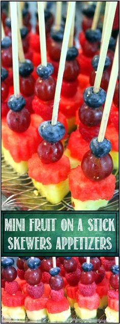 Mini Fruit on a Stick Skewers - Appetizers Anything on a stick is fun! Serve these up as an appetizer, or pop in the freezer for an hour and then use for a stir stick for white wine or sangria. Simple enough to make, just a few tips and suggestions in the pin to make these beautiful fun and festive little treats!