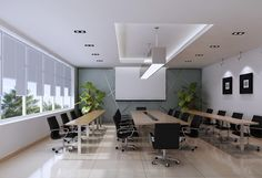 Black chairs for white meeting room design - Office Design
