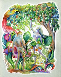 Paradise by Sylvie Daigneault {c.2011} ~ Adam & Eve in the Garden of Eden ~ colored pencil