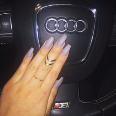 loving my new matte grey nails in coffin shape! nail trends kylie jenner nails 2015