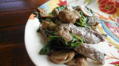 Steak with Mushrooms and Kale — She passed the sugar. Low carb dinner Low glycemic load