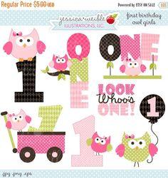 ON SALE First Birthday Girl Owls Cute Digital by JWIllustrations