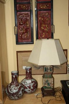 Lamps and wood panels