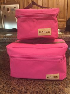 Cute Pink Hango Lunch Bags, in two sizes. Check these out for yourself. Great for adults and kids lunches.  #hangobag