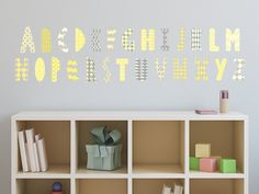Lovely sunny decals modern alphabet fabric wall decals with patterns! Wall art idea for your baby nursery. Alphabet Wall Decals, Nursery Wall Stickers, Wall Stickers Murals, Cheap Vinyl, Removable Wall Decals, Modern, Fabric, Toddler Learning, Learning Activities