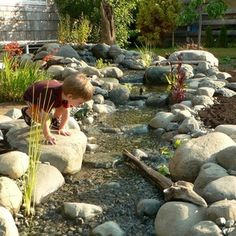 dry creek bed cost traditional landscape by island design ltd cost to build a dry creek bed River Rock Landscaping, Landscaping With Rocks, Backyard Landscaping, Landscaping Ideas, Backyard Waterfalls, Landscaping Software, Backyard Stream, Backyard Water Feature, Backyard Kids