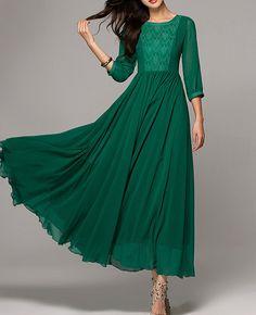 evening dress formal dress green dress chiffon by Lemontree2013, $109.90