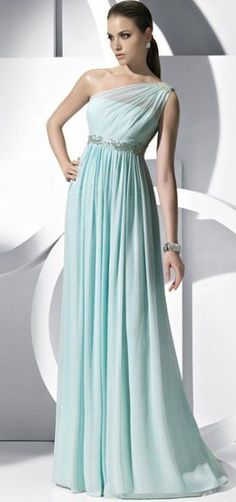 A-line Floor-length Chiffon One-shoulder Beading Evening Gowns Dresses - Special Occasion Dresses By AndyBridal Wedding Dresses Wedding Bridesmaid Dresses, Prom Dresses, Dress Prom, Dress Formal, Blue Bridesmaids, Dress Wedding, Formal Dresses, Bridal Dresses, Strapless Dress
