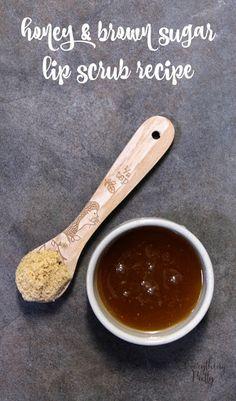 Honey and Brown Sugar Lip Scrub Recipe via www.yourbeautyblog.com #ad #sk