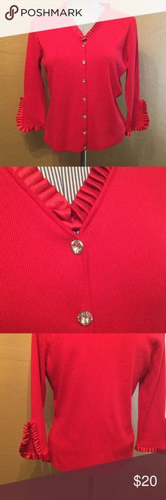 Red Sweater ❤️ Cardigan sweater with rhinestone buttons and satin pleat trim.  Nylon and rayon.  Like new!  Proceeds from red items in my closet go to the American Heart Association's Go Red for Women program.  Heart disease is the number one killer of women--know your numbers! ❤️ Escio Sweaters