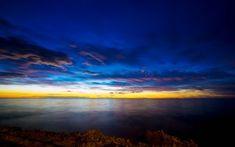 Preview wallpaper sea, river, sunset, sky, light