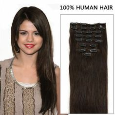 24 Inch 10pcs Wally Straight Clip In Remy Human Hair Extensions 175g (#2 Darkest Brown)