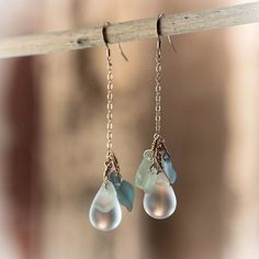 Classic Winter Wonderland Earrings - Unique handmade Sea Glass Jewelry with Rose Gold - Perfect for the holiday party or gift